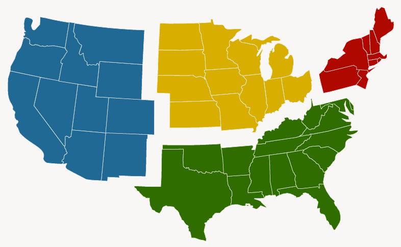 Us Map Divided Into 4 Regions The Regions of the United States   International AutoSource