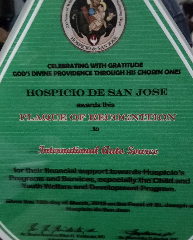Hospicio De San Jose Offers IAS Recognition Plaque